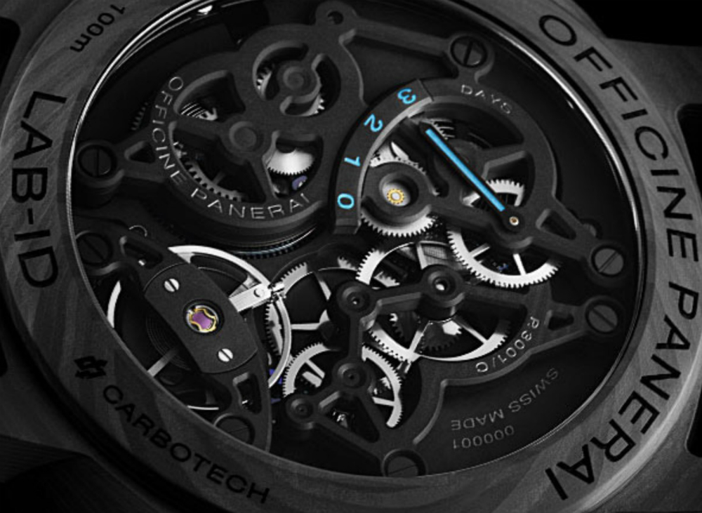 The movement parts are all treated so as to not need lubrication, enabling Panerai to offer a 50 year warranty on the 50-50-50 LAB ID Luminor 1950 Carbotech 3 Days watch.