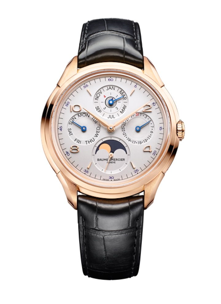 The Clifton Perpetual Calendar features a silver opaline dial with day, date, month, leap year and moon phase indications.
