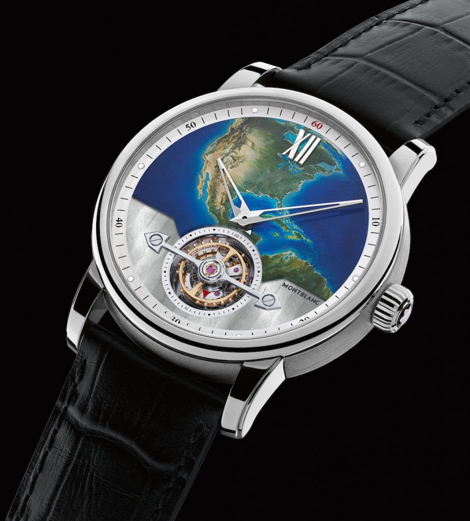 Montblanc ExoTourbillon Slim 110 Years Limited Edition watch with patented moment with quick stop-seconds
