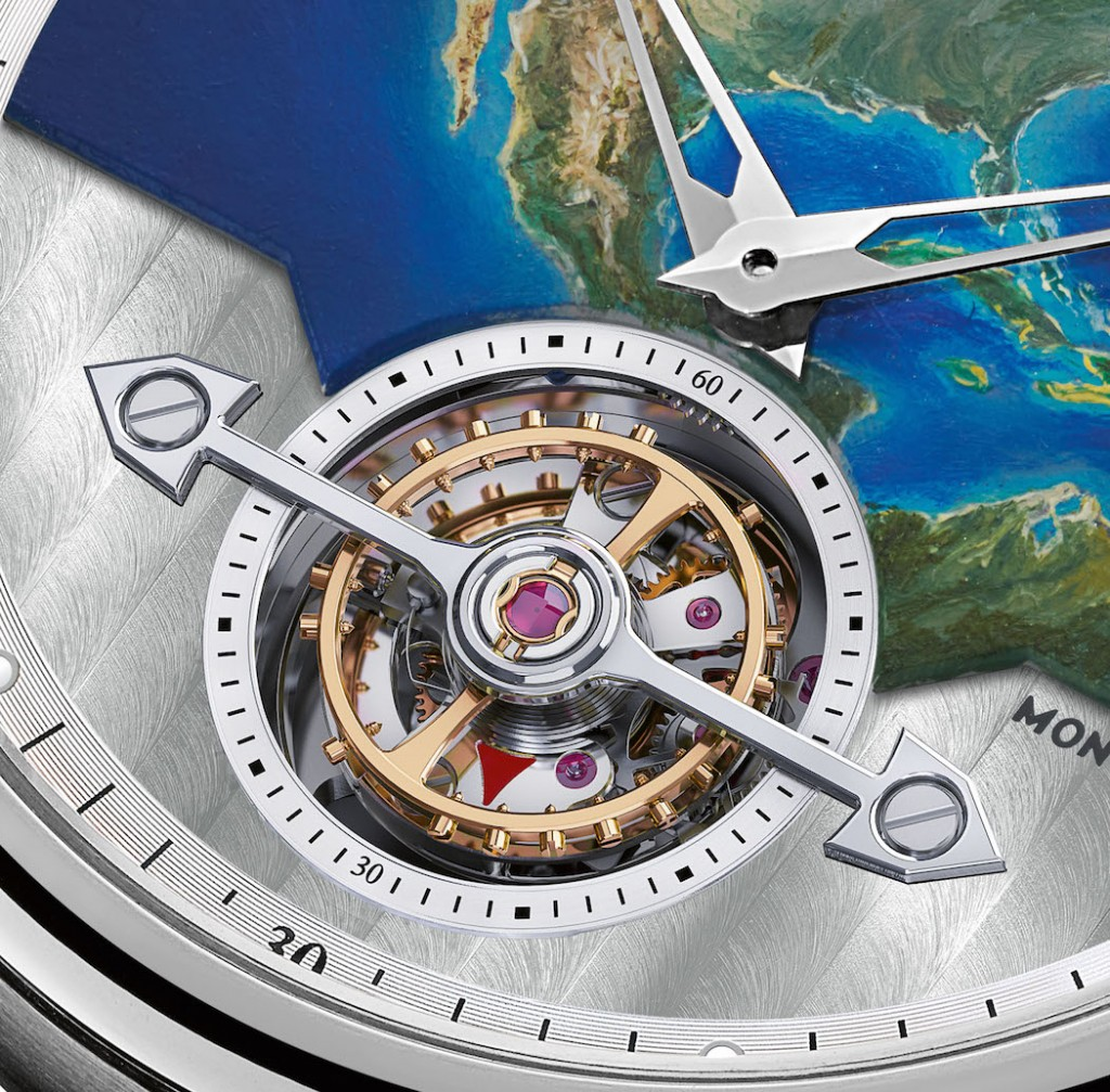The lower portion of the dial features a Cotes de Geneve graining