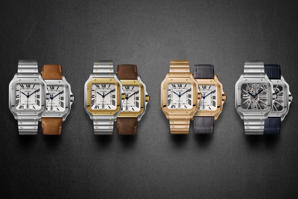 Santos de Cartier with new patented QuickSwitch interchangeable strap system.