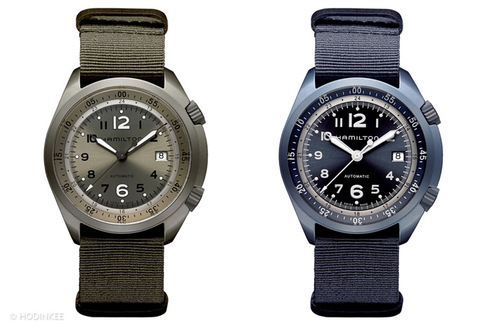 The current  Hamilton Khaki Pilot Pioneer Aluminum is light weight yet rugged thanks to a special hardening  treatment that also enables it to be color treated. Four versions are offered.