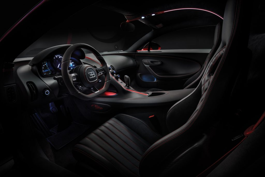 Even the interior of the Bugatti Chiron Sport can be customized.