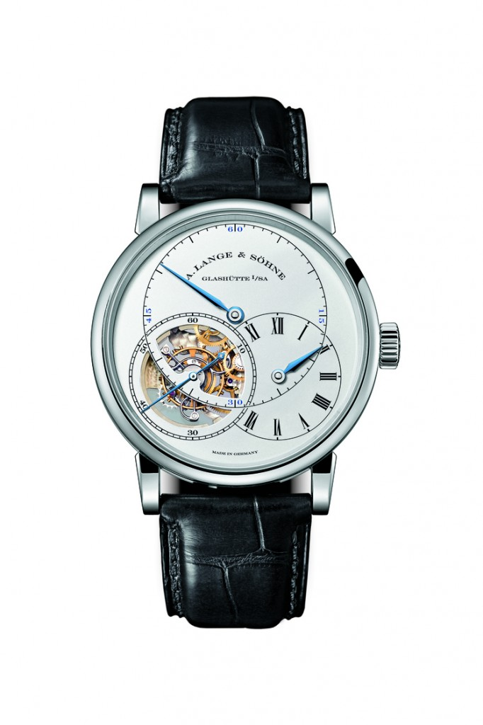The new white gold Richard Lange Pour le Merit watch with blued steel hands is seen here with the hour dial not fully open-- totally exposing the tourbillon escapement.