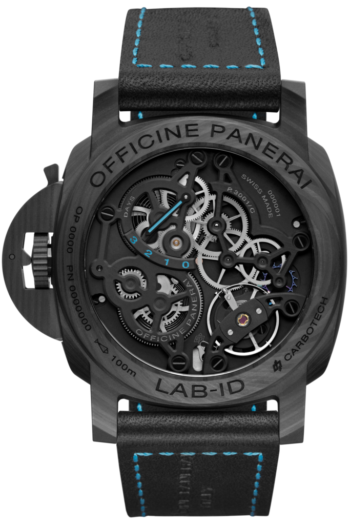 The movement parts are visible via a transparent caseback on the Panerai Lab ID Carbotech Luminor 1950 3 Days PAM700.