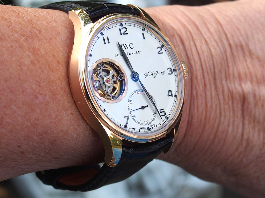 The tourbillon escapement is at 9:00 and the watch is beautifully balanced.