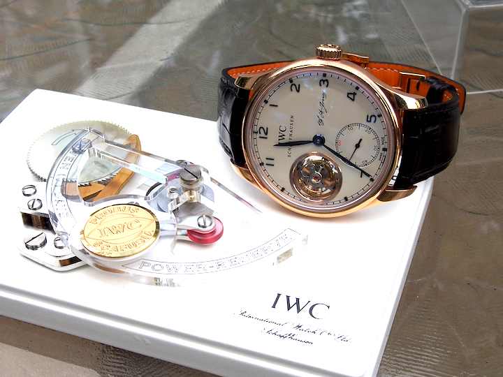 "The Portugieser Tourbillon Hand-Wound ""D.H. Craig US"" Watch features the name of Jones' uncle who helped fund the opening of IWC"