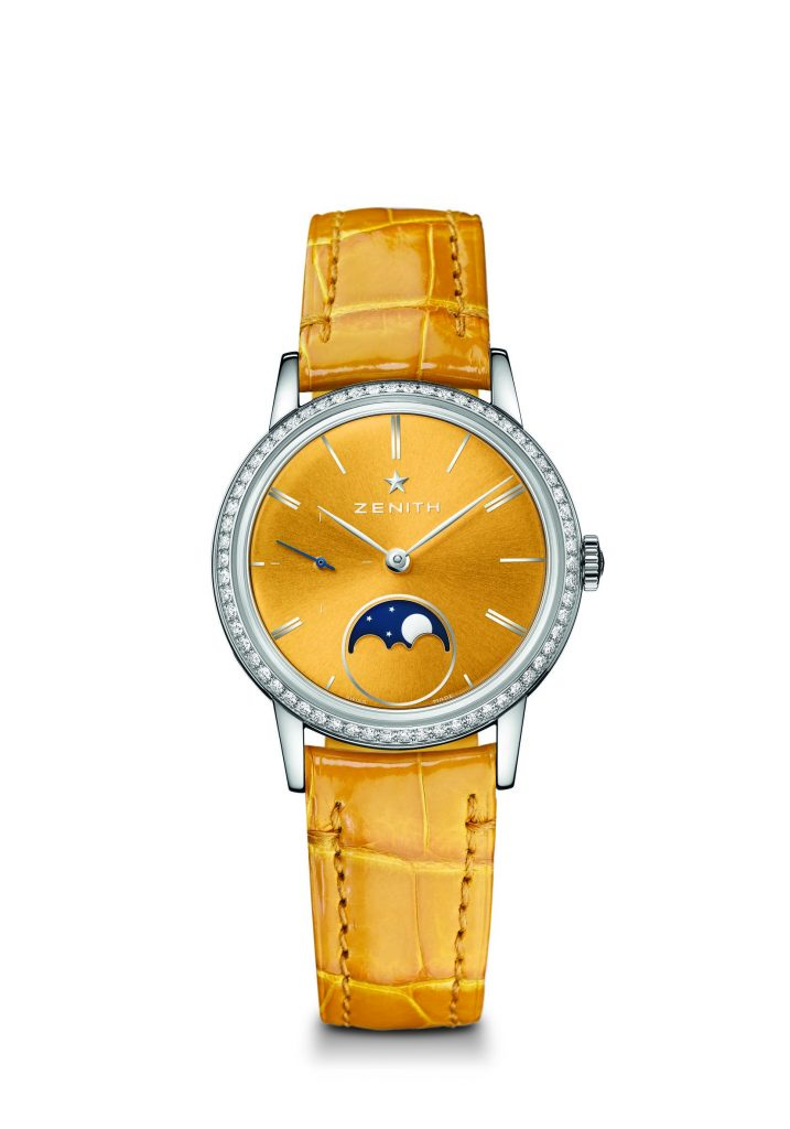 The Zenith Elite Lady Moonphase is powered by an Elite automatic caliber.