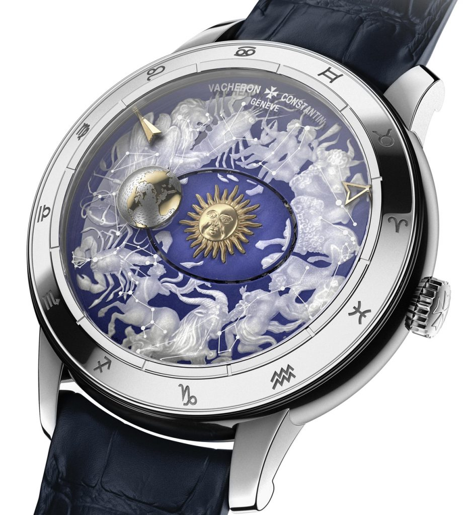 The dial of this version of the Vacheron Constantin Metiers d'Arts Celestial Spheres 2460RT is created using hand- and laser-engraving on a sapphire disk. It is the least expensive of the three watches at $93,500.