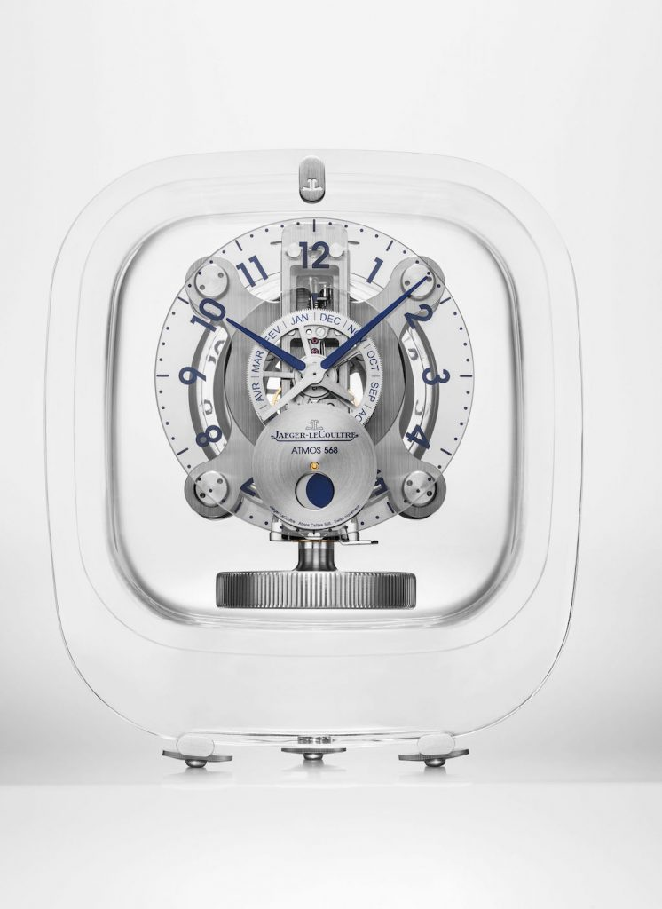The new Jaeger-LeCoultre Atmos 568 by Marc Newson features a cabinet made by Baccarat.