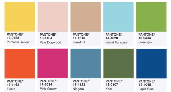 Pantone Spring palette