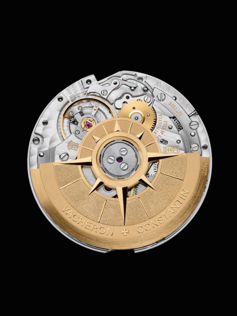 The Manufacture-made movement is the Overseas 2460WT with compass rose-inspired rotor