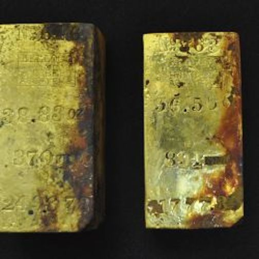 gold bars from the September salvage, the first of many.  Photo courtesy of Oddessey Marine