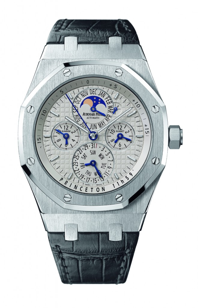 Audemars Piguet Royal Oak Equation of Time ($69,200) watch. It is powered by the Caliber 2120/2802 Manufacture made movement with 425 parts. It offers equation of time, sunrise and sunset times, perpetual calendar, astronomical moon and hours/minutes.