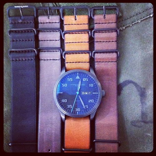 New hues of Barenia leather custom-made NATO straps for Maurice de Mauriac watches