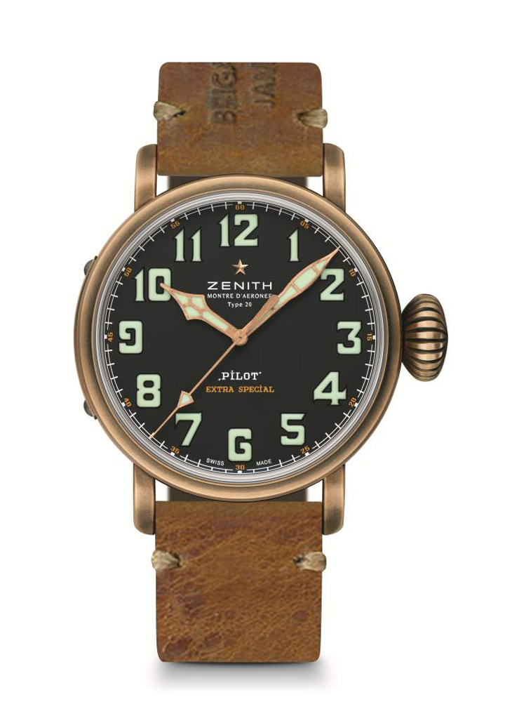 The Zenith Pilot Extra Special Thayer Limited Edition Bronze watch features a strap made of World War II ammunition bags.