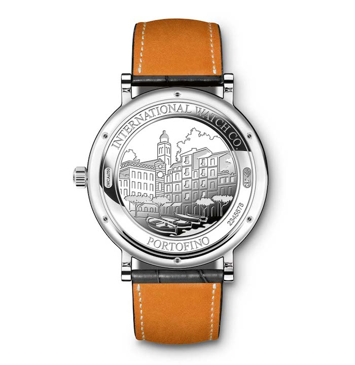 The watch case back is engraved with a scene from the city of Portofino.