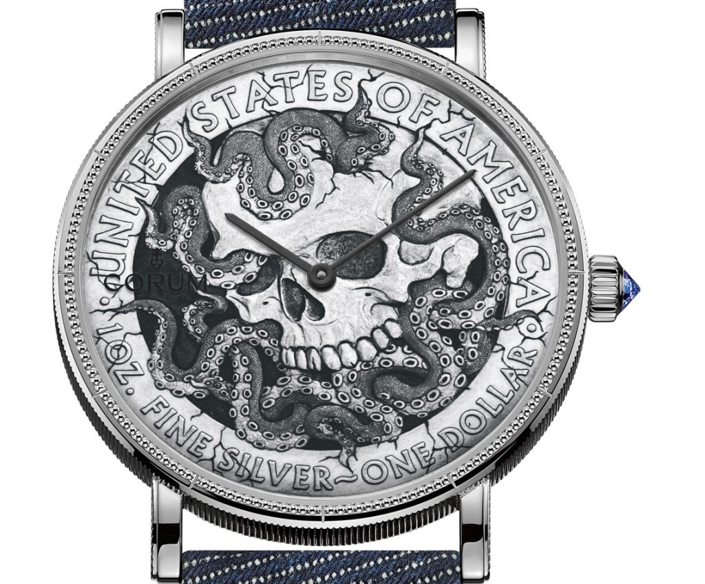 Corum Heritage Hobo Coin made of a sterling silver $1 dollar coin.