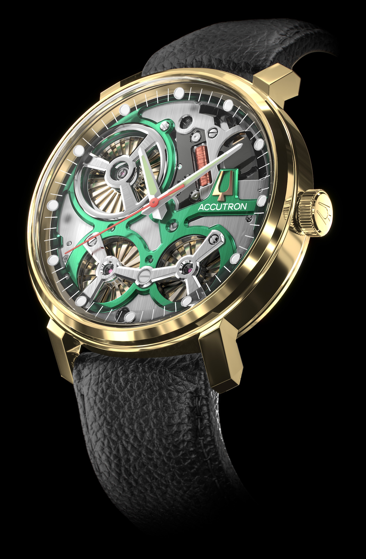 Accutron Spaceview watch with electrostatic energy movement.