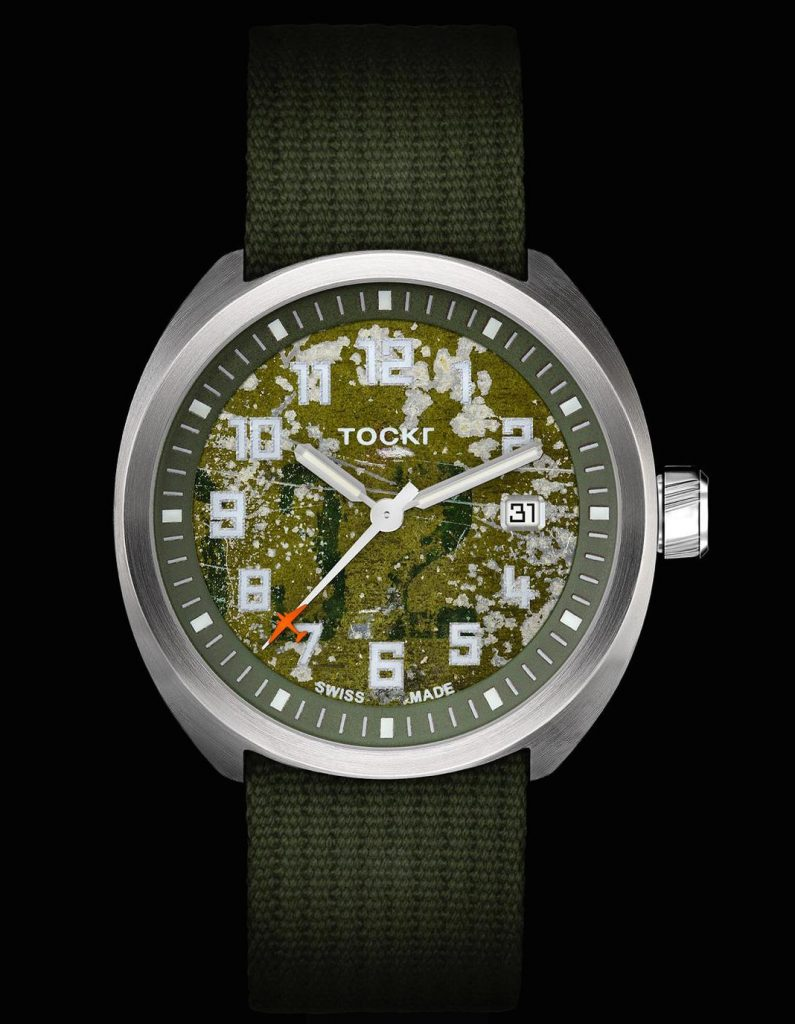 "Tockr D-Day C-47 Limited Edition watch with dial made from salvaged aluminum from D-Day ""That's All, Brother"" paratrooper transport"
