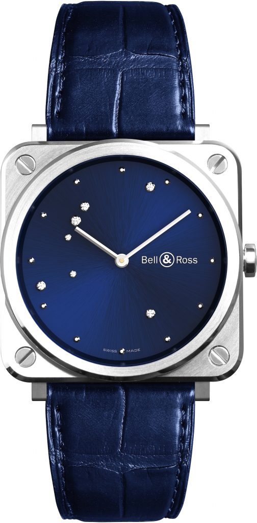 The 39mm square watch is powered by a quartz movement.