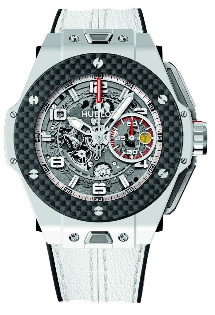 Hublot Big Bang Ferrari White Ceramic watch, owned by Patrick Reed, Masters winner.