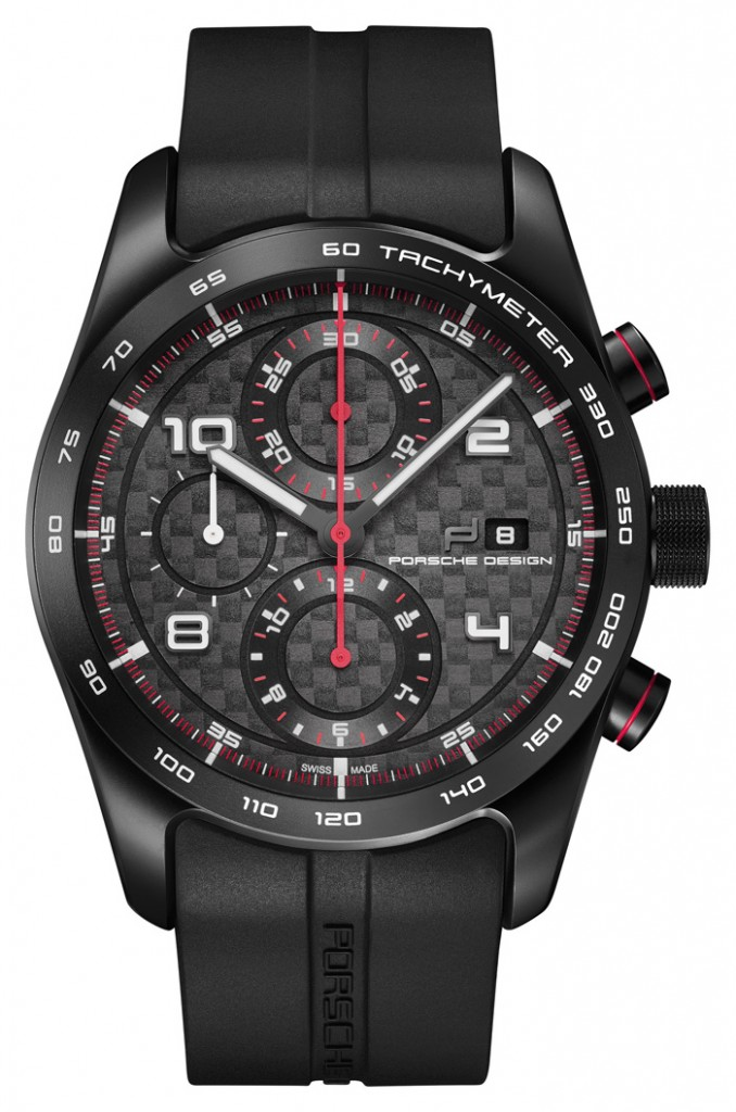 The Porsche Design Chronotimer 1 in matte black, reminiscent of the brand's first watch in 1972.