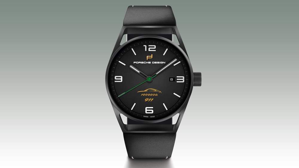 Porsche Design 1919 Datetimer One Millionth 911 watch is crafted in light-weight black titanium.