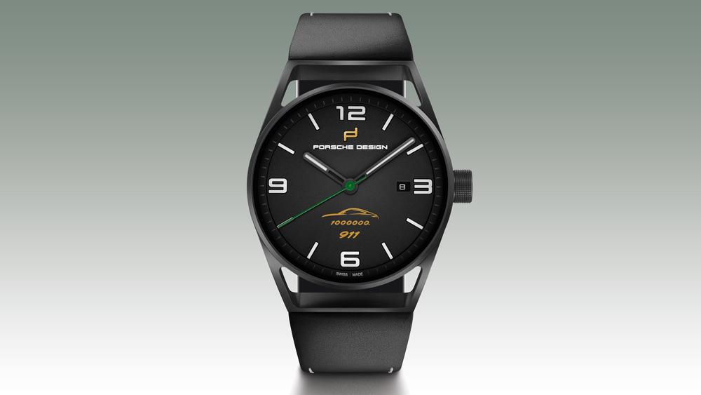 Porsche Design 1919 Datetimer One Millionth 911 watch is crafted in light-weight black titanium.