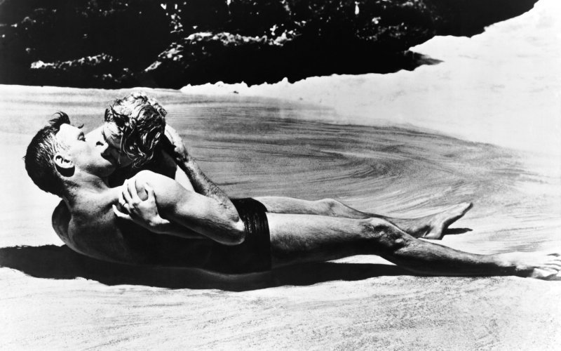 "One of the sexy beach scenes from the movie, ""From Here to Eternity"""