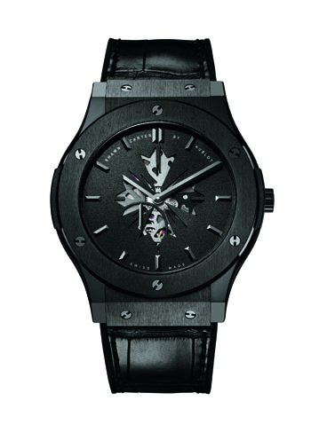 The new Shawn Carter by Hublot watch is being offered in either black ceramic or 3N yellow gold .
