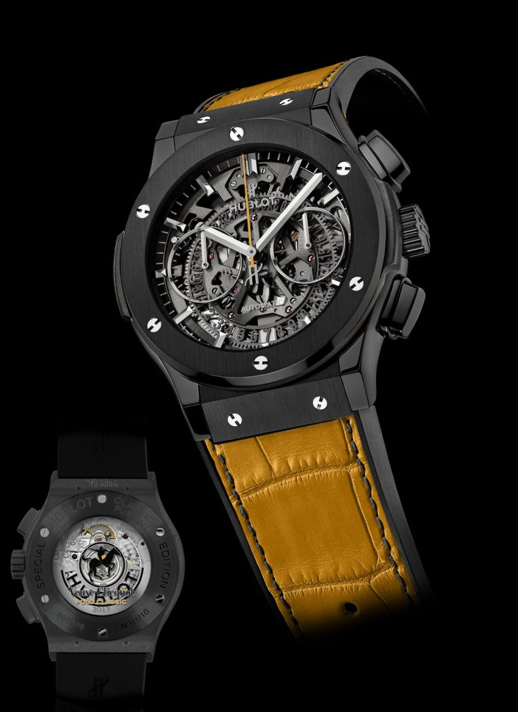 Just 10 pieces of the Hublot AeroFusion Chronograph Vueve Clicquot Classic Polot watch will be made.