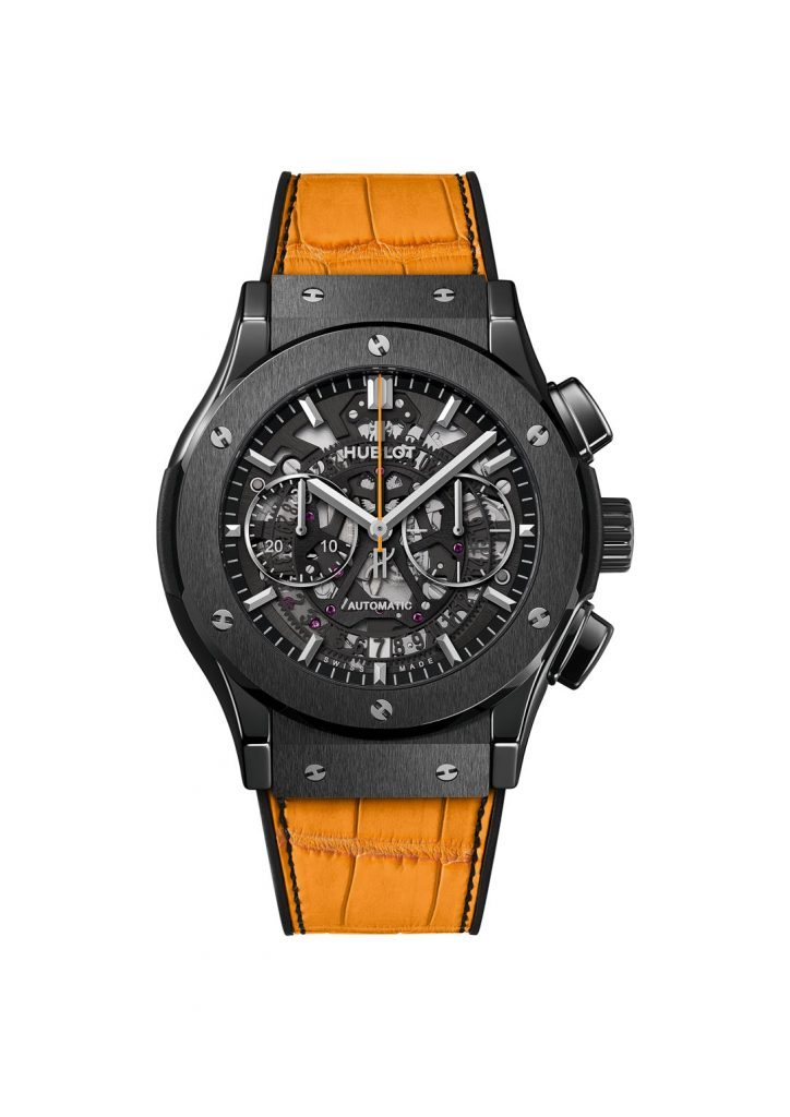 Hublot AeroFusion Classic Polo watch is created in honor of the Vueve Clicquot 10th anniversary of the Classic Polo match.