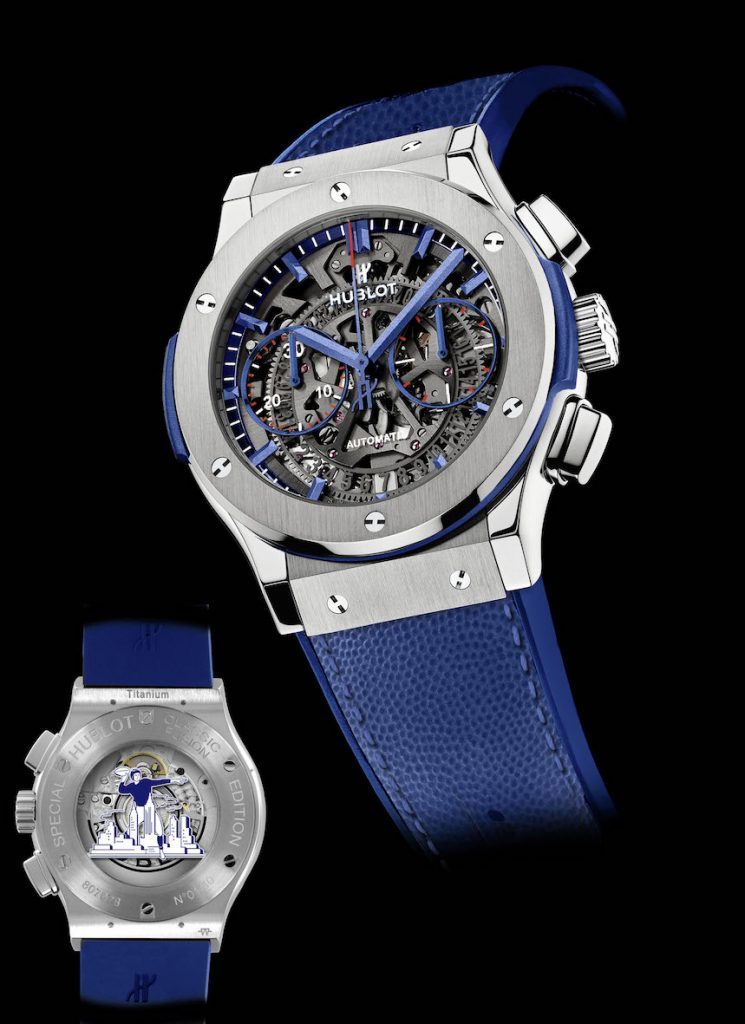 There will be 40 titanium Hublot Classic Fusion Aerofusion Limited New York Edition watches made in honor of the partnership with the New York Giants.