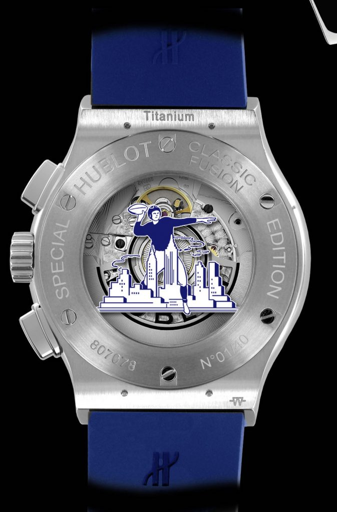 The caseback of the watch features a vintage cartoon of a Giants player against the New York skyline.