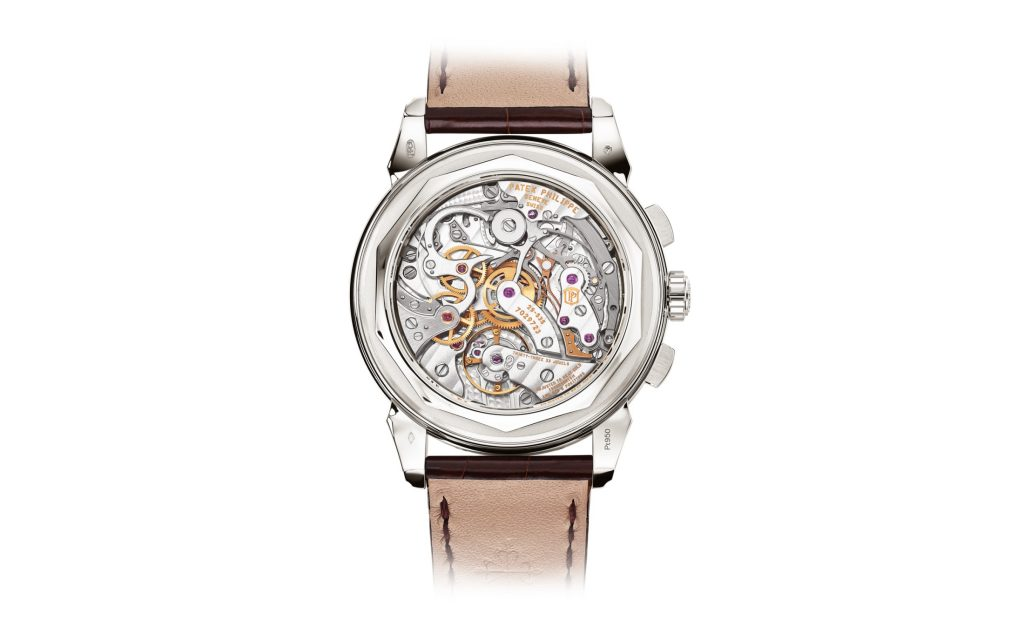 The newest Patek Philippe Ref. 5720 is crafted in platinum with a salmon colored dial.