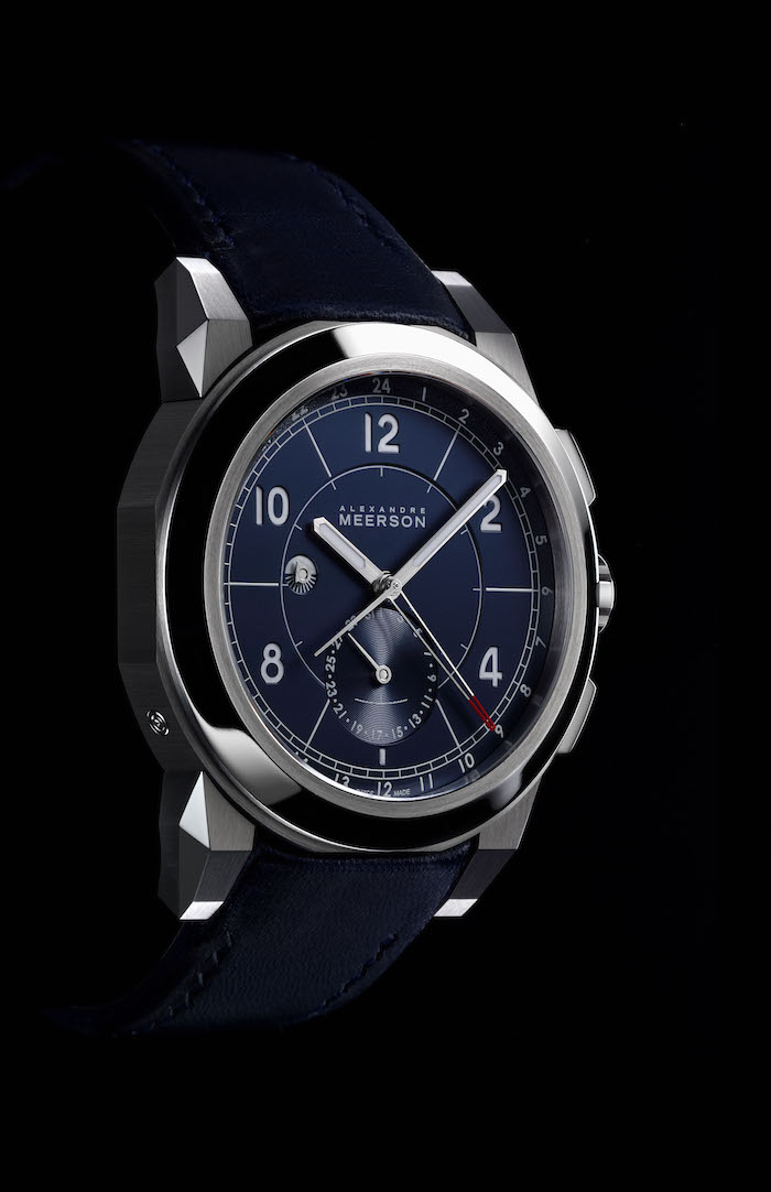 The highly refined blue dial of the Meerson D15 sport inspired dual-time traveller's watch.