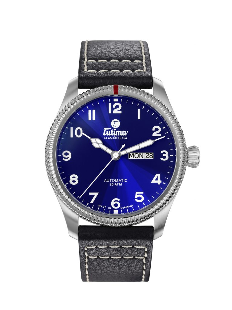 Tutima Grand Flieger Classic watch with striking blue dial.
