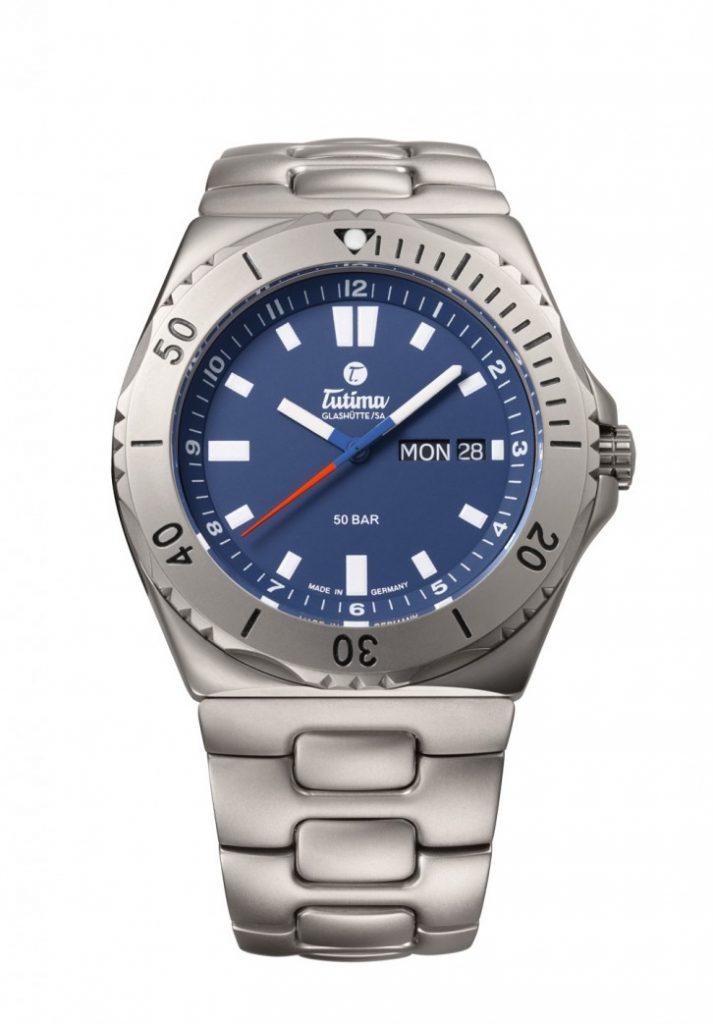 Tutima 44mm M2 Seven Seas watch in titanium with blue dial.