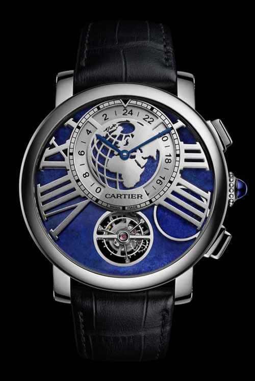 The Rotonde de Cartier Earth and Moon watch offers Tourbillon, second time zone and moonphase on demand.
