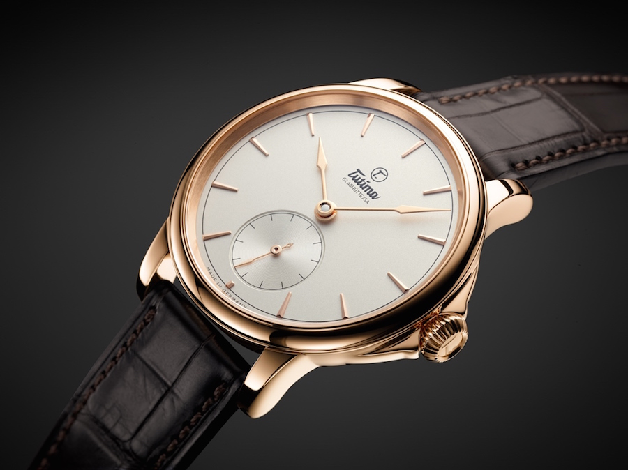 The watch is offered with a choice of numerals or indices.