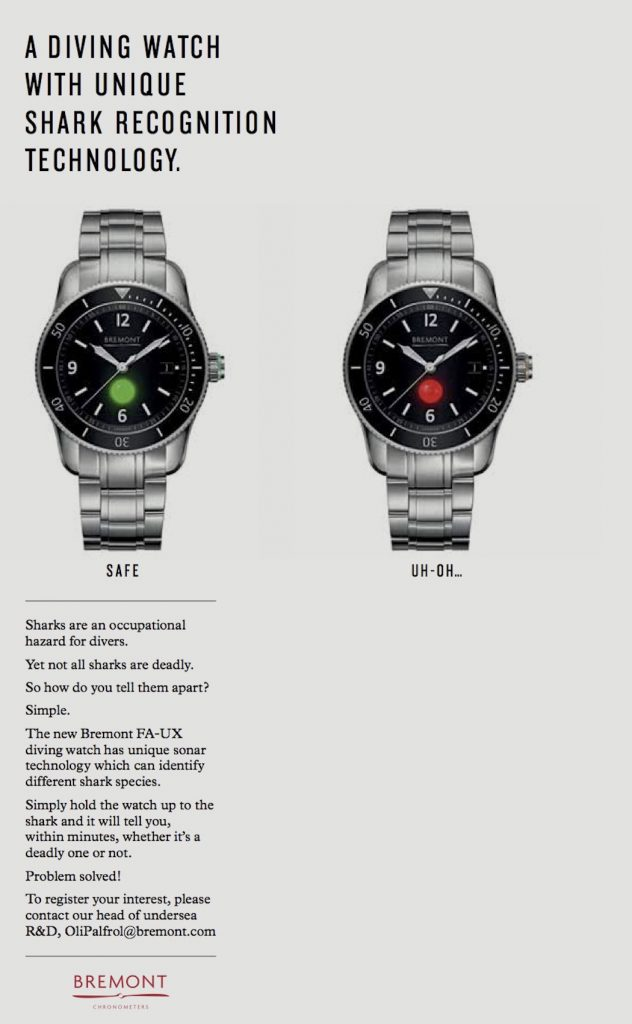Bremont FA-UX dive watch with shark detection ... British humor on April Fool's Day