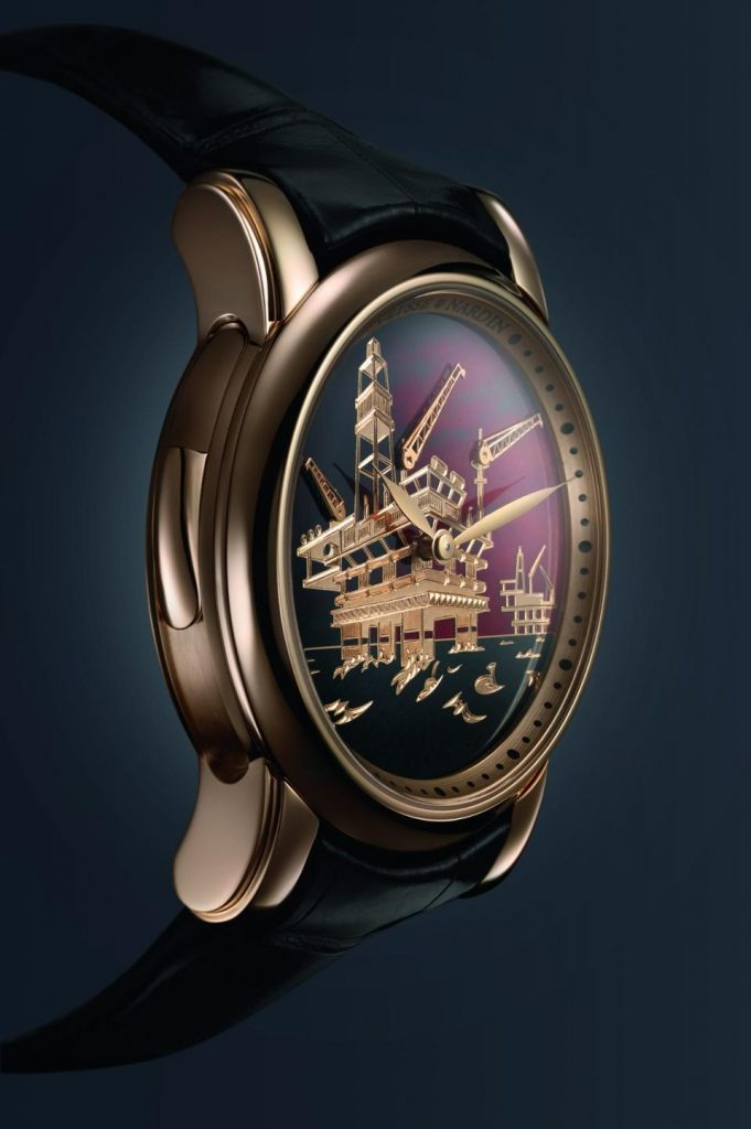 The Ulysse Nardin North Sea Minute Repeater watch with 3D dial is also an automaton, with three derricks moving as the watch sounds the time.