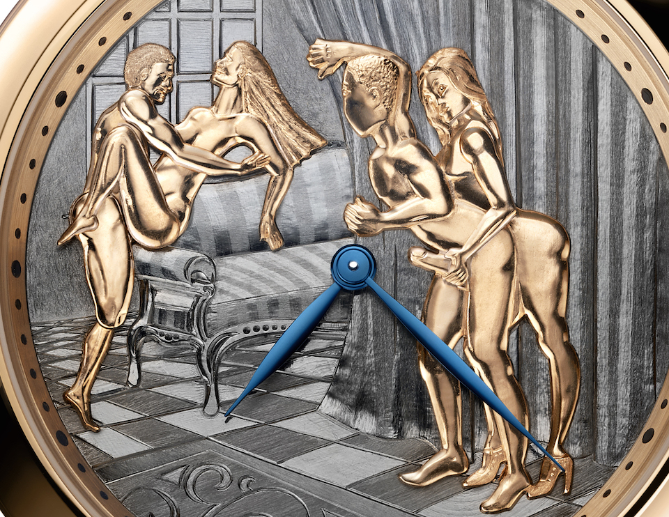 The Ulysse Nardin Classic Voyeur erotic watch could represent the first time this particular hand gesture was depicted on a watch dial.