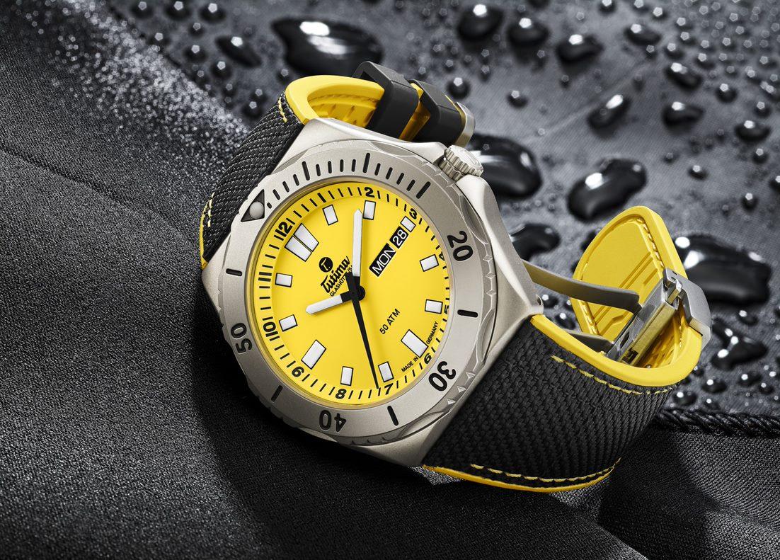 Tutima M2 Seven Seas in yellow signal and titanium.