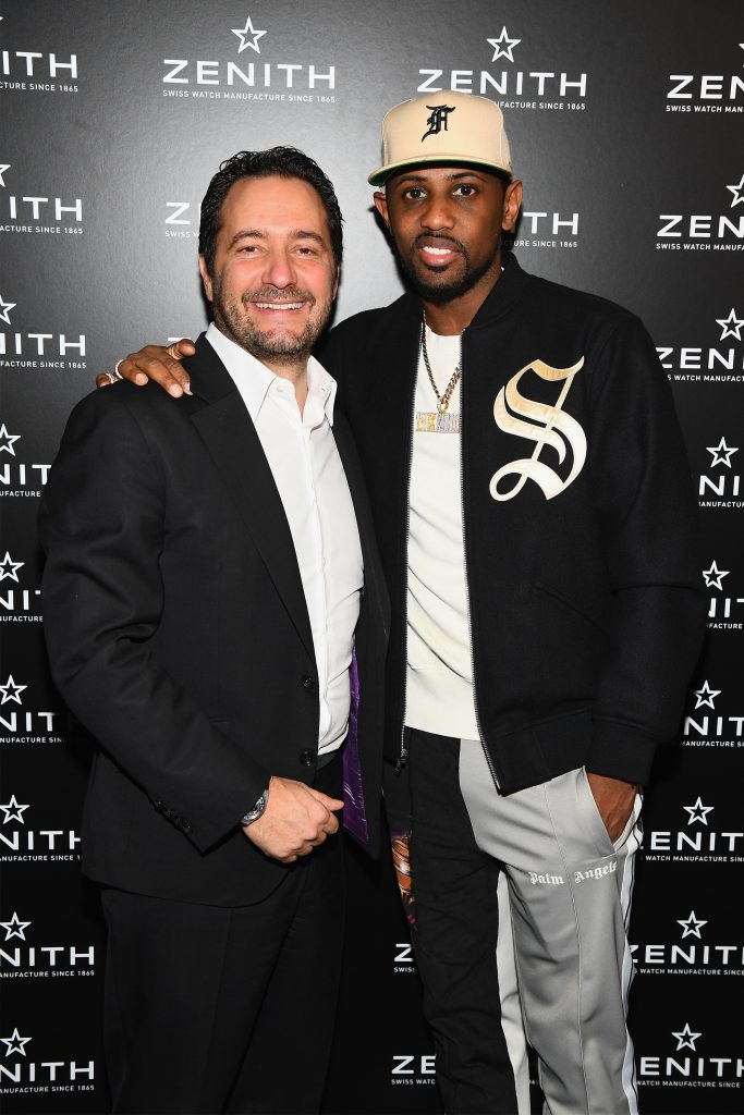 CEO of Zenith Julien Tornare (L) and rapper Fabolous pose as Zenith Watches and Swizz Beatz celebrate the launch of The Defy Collection at the Angel Orensanz Center on November 30, 2017 in New York City. (Photo by Dave Kotinsky/Getty Images for Zenith)