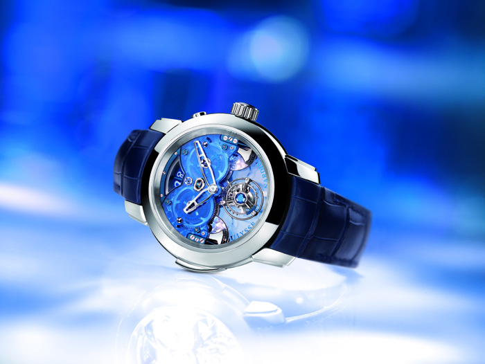 The Ulysse Nardin Imperial Blue is a work of art and technical mastery with blue sapphire plate, Tourbillon and Grand Sonnerie   Westminster carrillon.