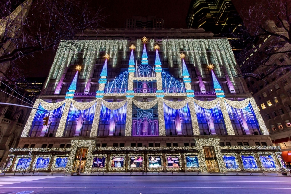 The incredible light show at Saks Fifth Avenue.