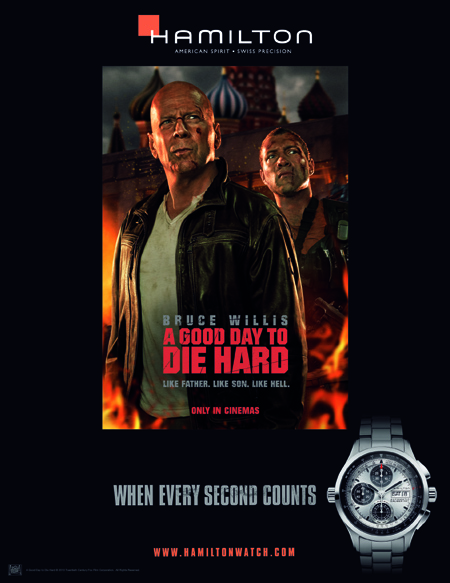 Hamilton Watches have been in movies for 60 years, and starred in the recent A Good Day to Die Hard.