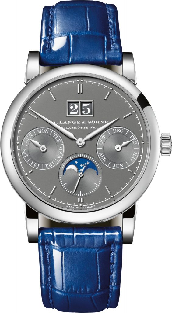 A. Lange & Sohne Saxonia Annual Calendar US Boutique Exclusive is the first model to feature white date numerals on gray dial background.